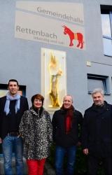 v.l. Malermeister Steffen Ebersbach, Bürgermeisterin Sandra Dietrich-Kast, Bernhard Schmid und Zweiter Bürgermeister Alexander von Riedheim